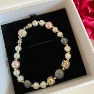 Unique Pearl Bracelet with Sterling Silver